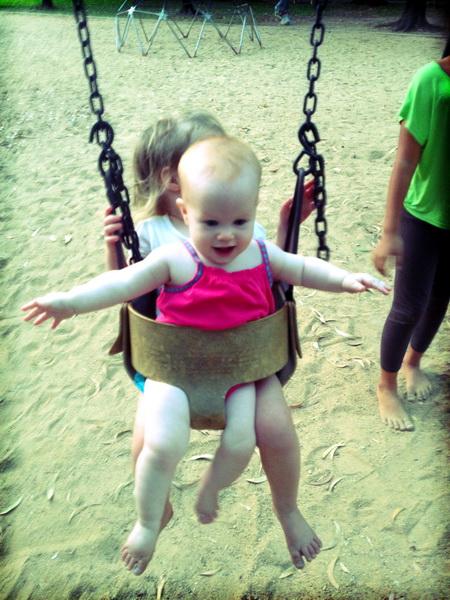 Sisters swinging