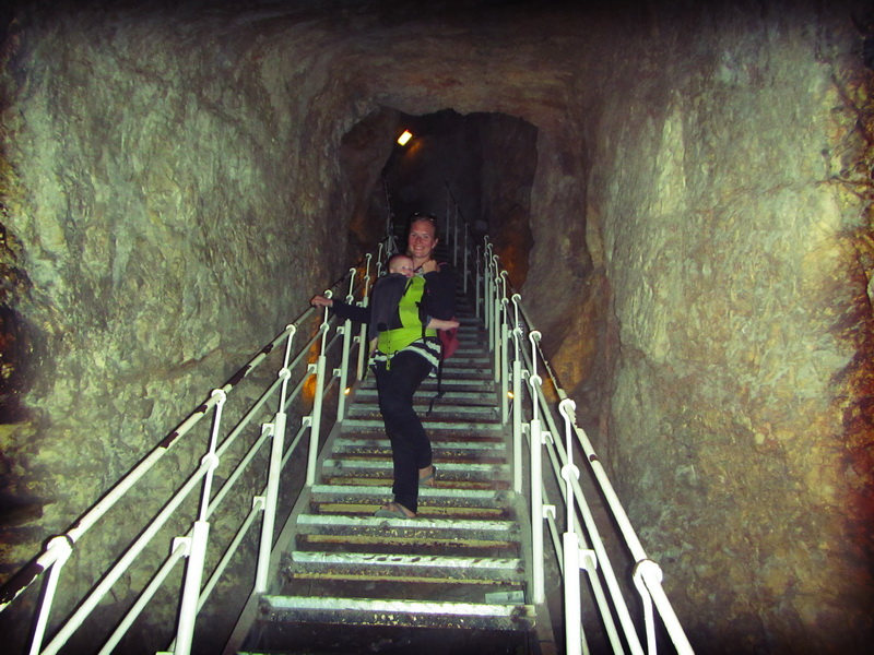 Amie descending into Hezekiah's Tunnel