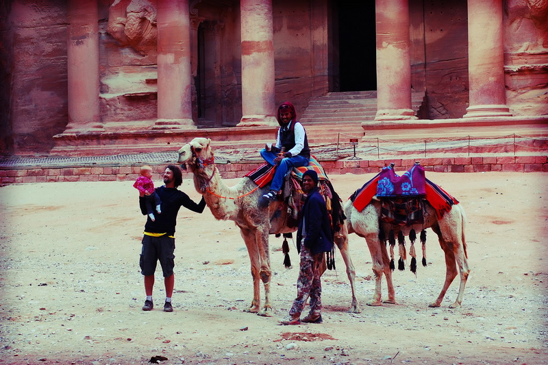 Steve acquainting Arwen with some camels in Petra