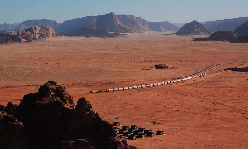 Looking down on our tent camp at Wadi Rum