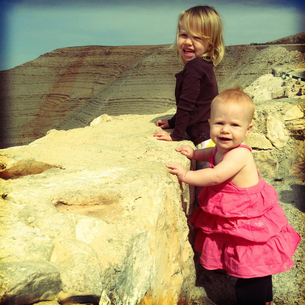 Aya + Arwen overlooking Mujib Canyon