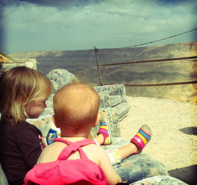Aya + Arwen overlooking Mujib canyon at Scammin' Sammy's