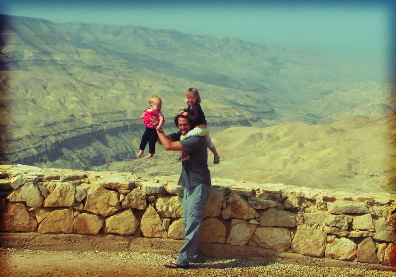 Steve + kids overlooking Mujib Canyon