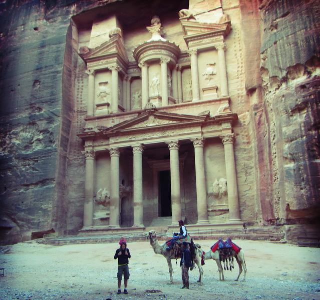 Steve enjoying the camels at Petra's treasury