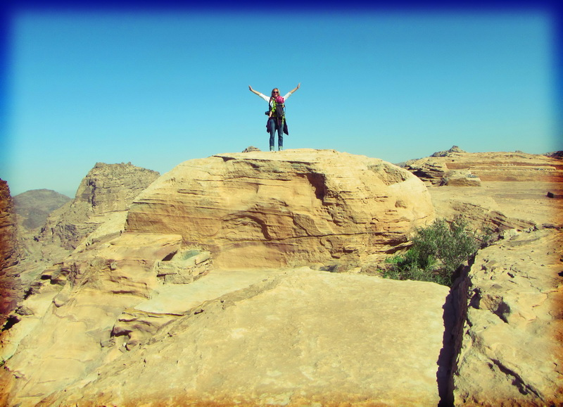 Amie atop the high place of sacrifice at Petra