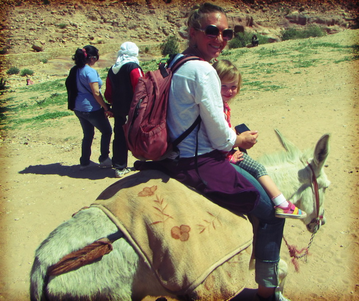 Mule ride out of Petra