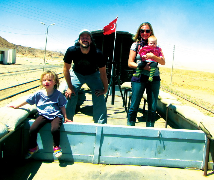 Family on the train at Wadi Rum station