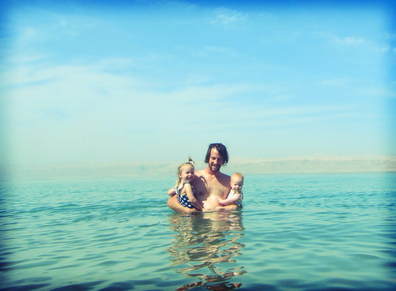 Steve + the girls in the dead sea