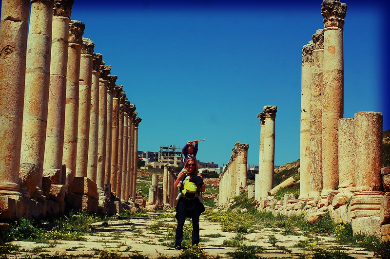 Amie + Aya and the pillars at Jerash