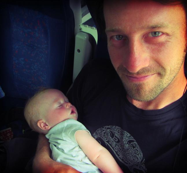 Arwen + Dad on the train