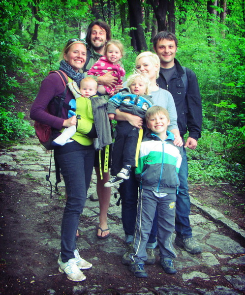 Amie, Steve, Aya, Arwen, Rachelle, Assen, Ronin, and Royce ready to ascend Mt. Vitosha