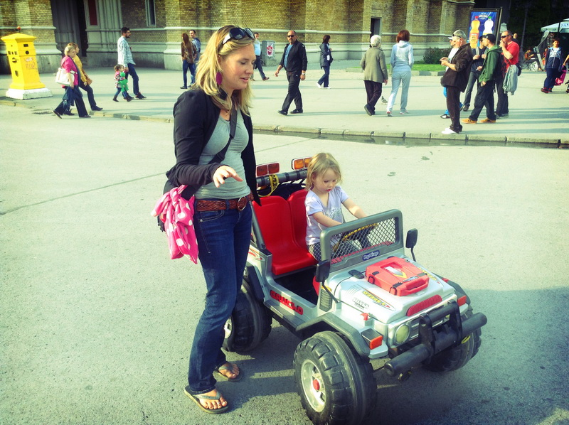 Aya trying the motor vehicles in Novi Sad