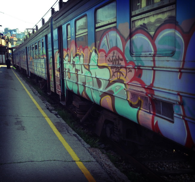 Colourful Serbian train