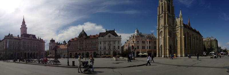 Panoramic of liberty square in Novi Sad