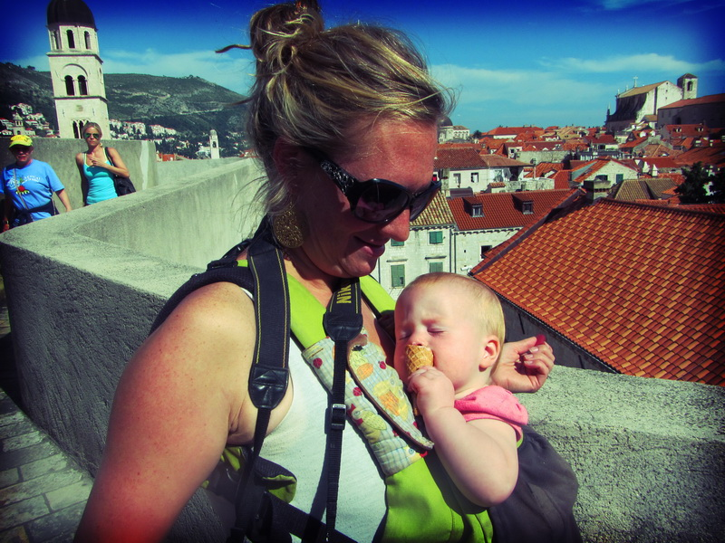 Arwen loving ice cream on the walls of Dubrovnik