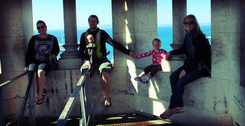 Family + Rebecca at the top of the Split belltower