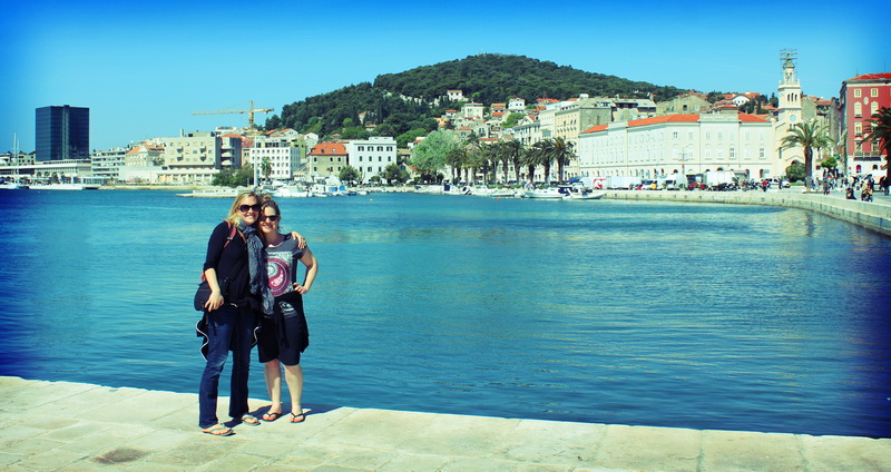 Amie and Rebecca in Split harbour