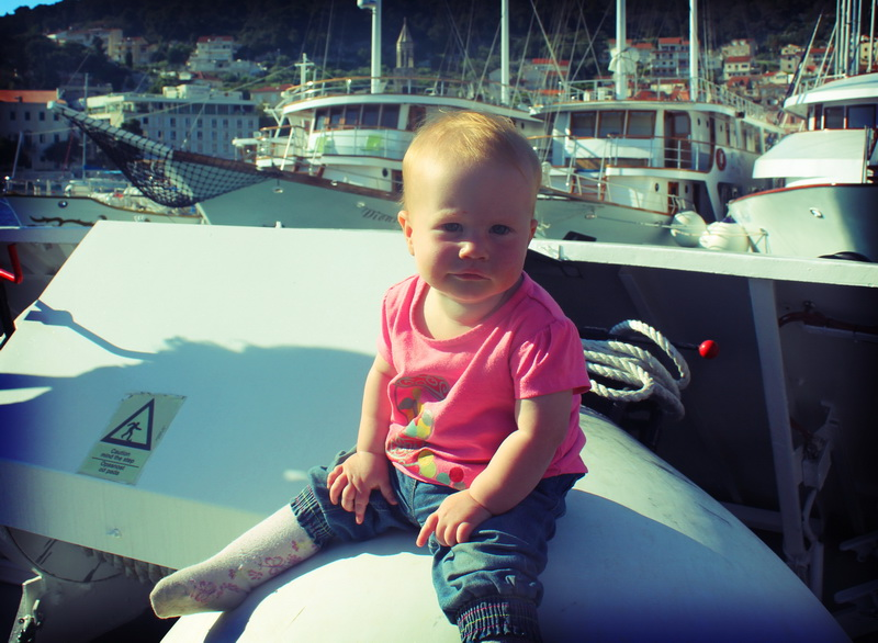 Arwen sitting on a buoy in Hvar harbour
