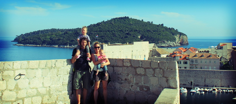 Family walking the walls in Dubrovnik
