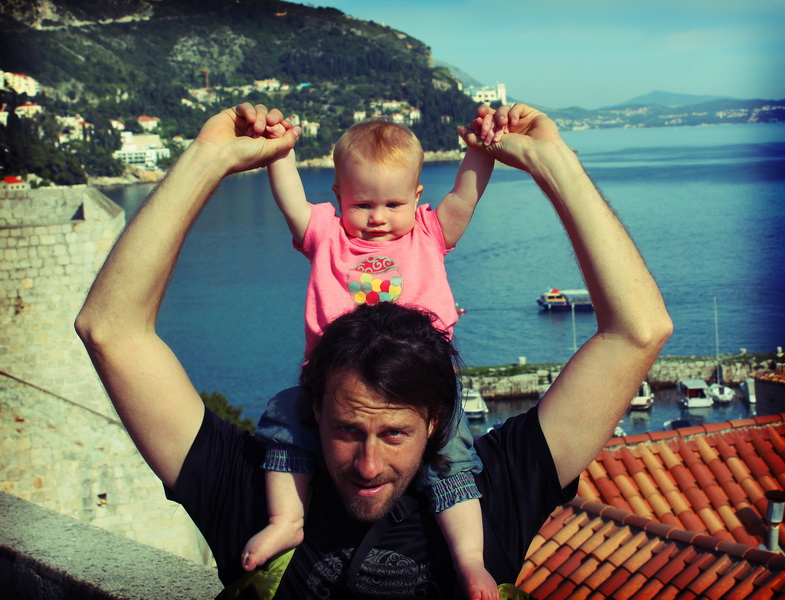 Arwen + Daddy walking the walls above Dubrovnik