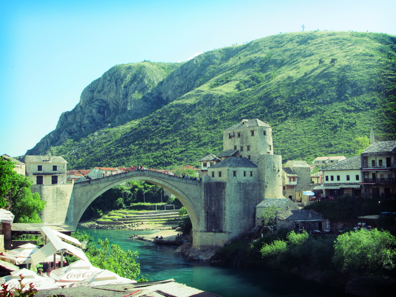 Mostar famous old bridge reconstructed after being destroyed in the war - 1993