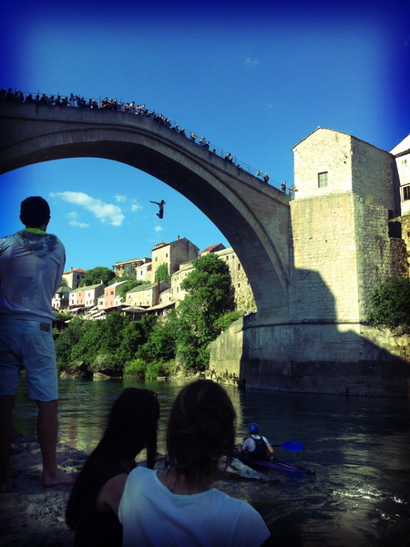 Jumping off the old bridge in Mostar