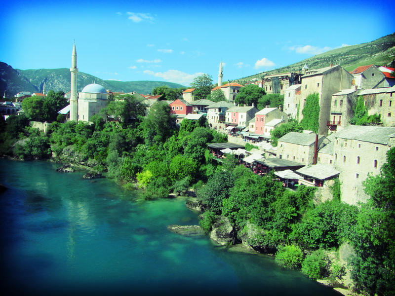 Beautiful river in Mostar
