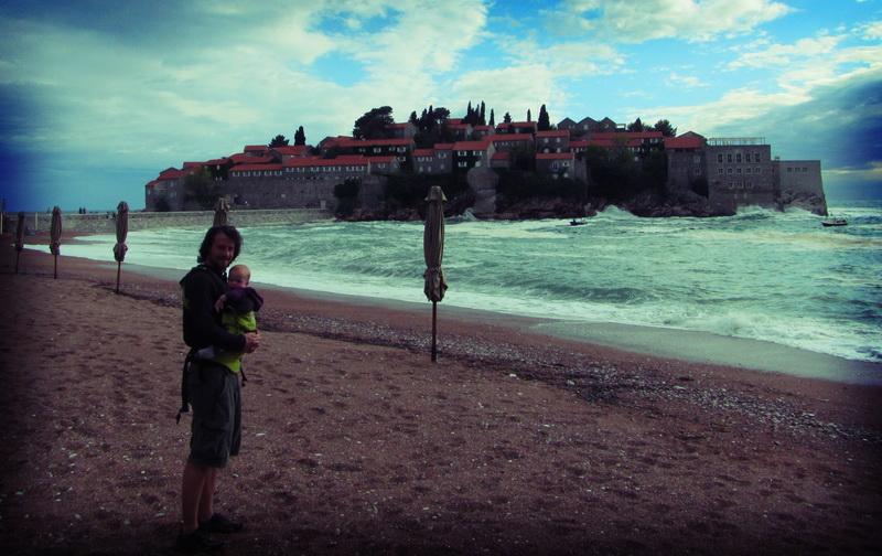 Steve + Arwen in front of Sveti Stefan