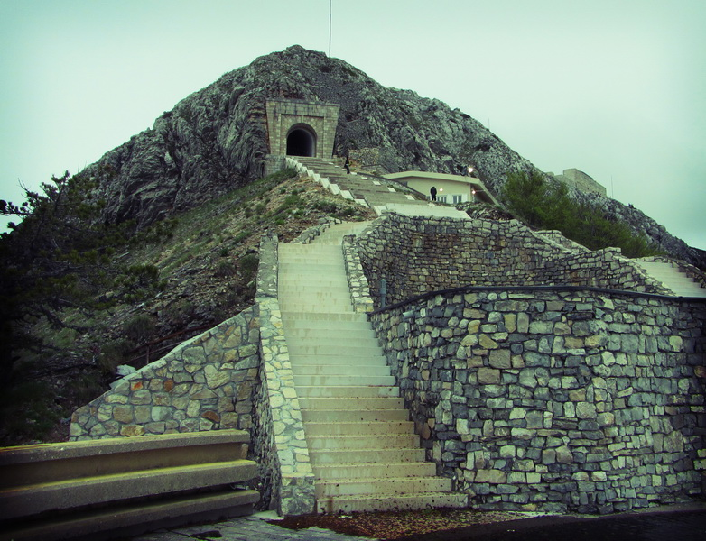 The steps up the mausoleum in Lovcen national park