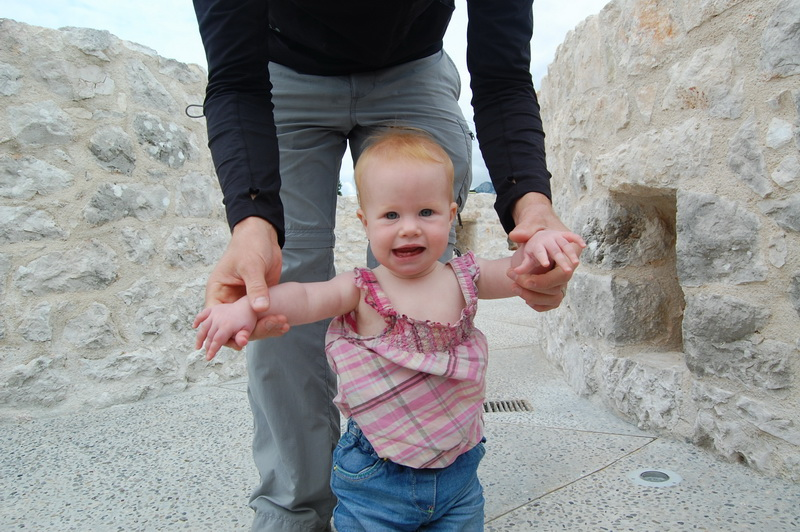 Arwen learning to walk at Besac castle