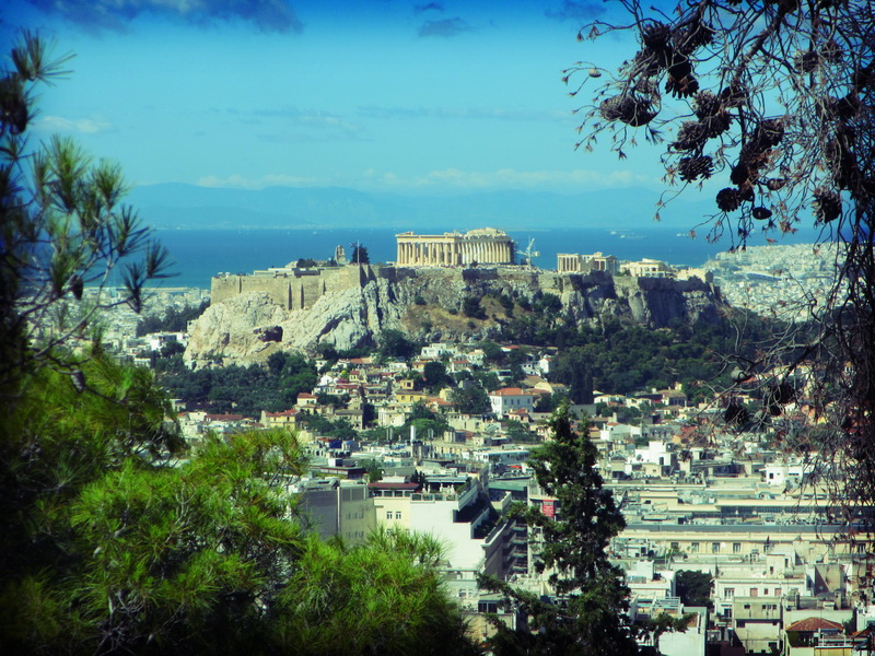 View of the Parthenon atop Lofos Likavitou