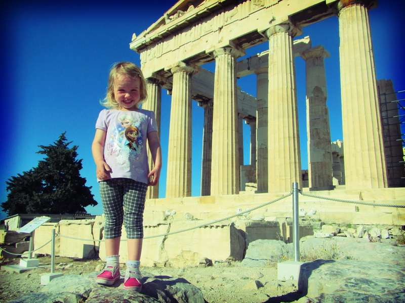 Aya playing near the Acropolis