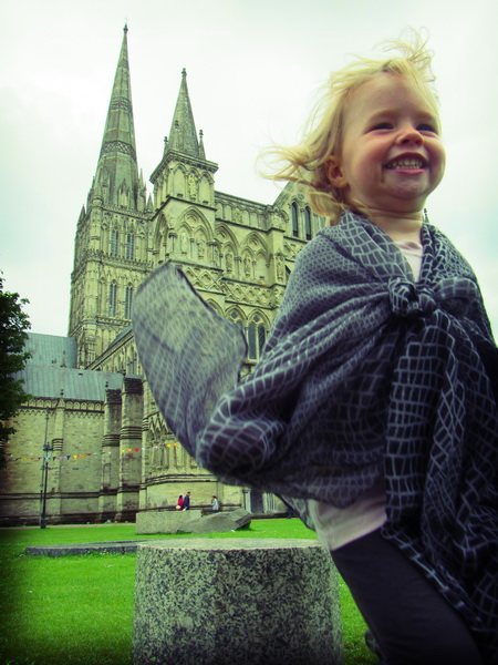Aya beside Salisbury Cathedral
