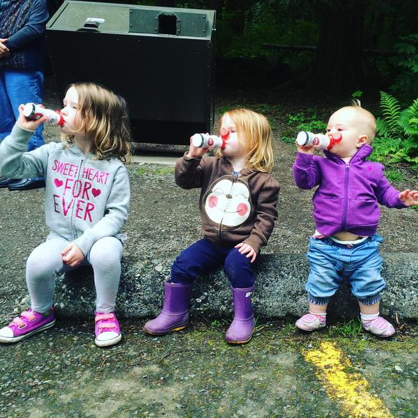 These kids love their yogurt drinks