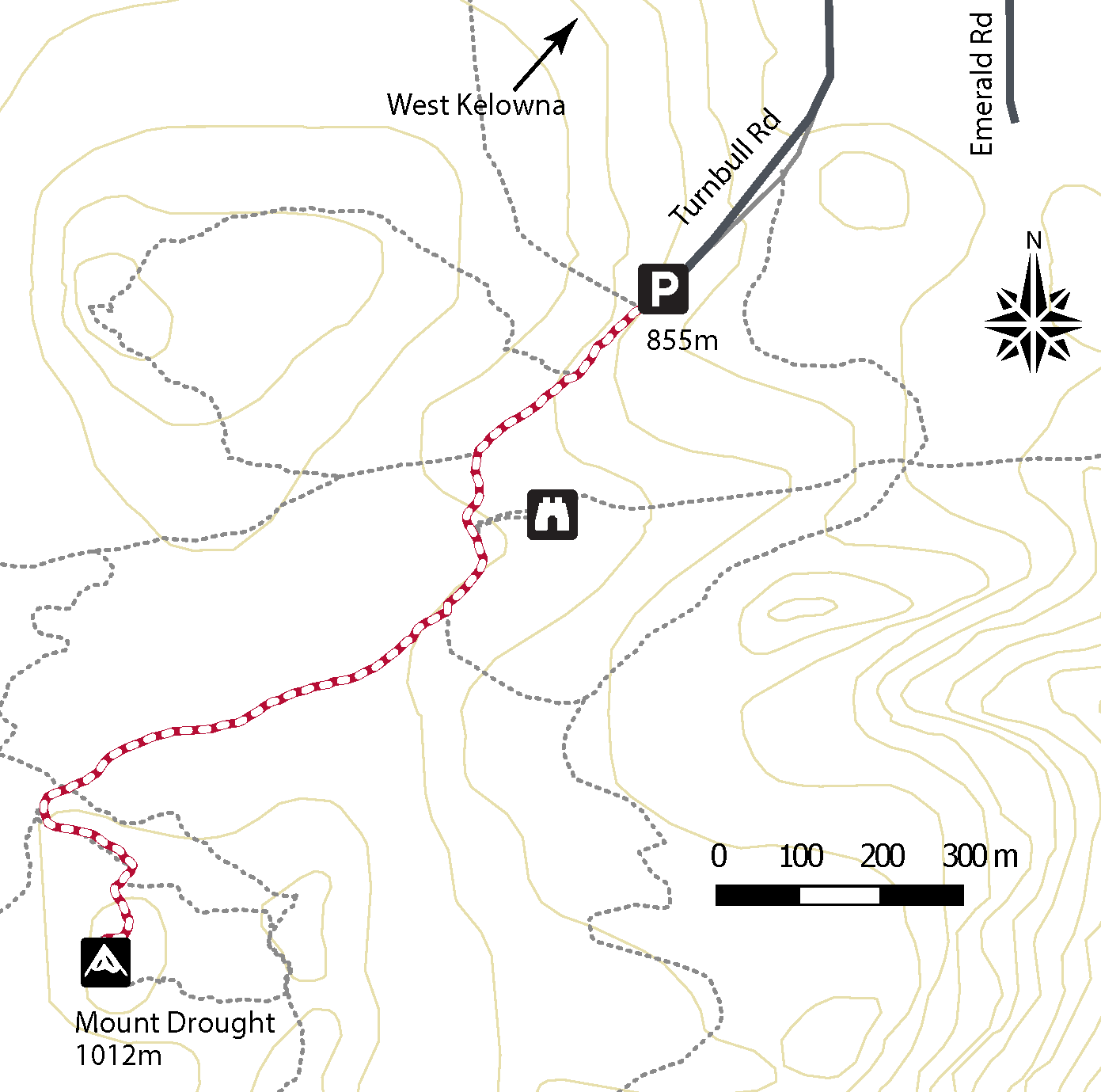 Trail map around Mt. Drought Summit