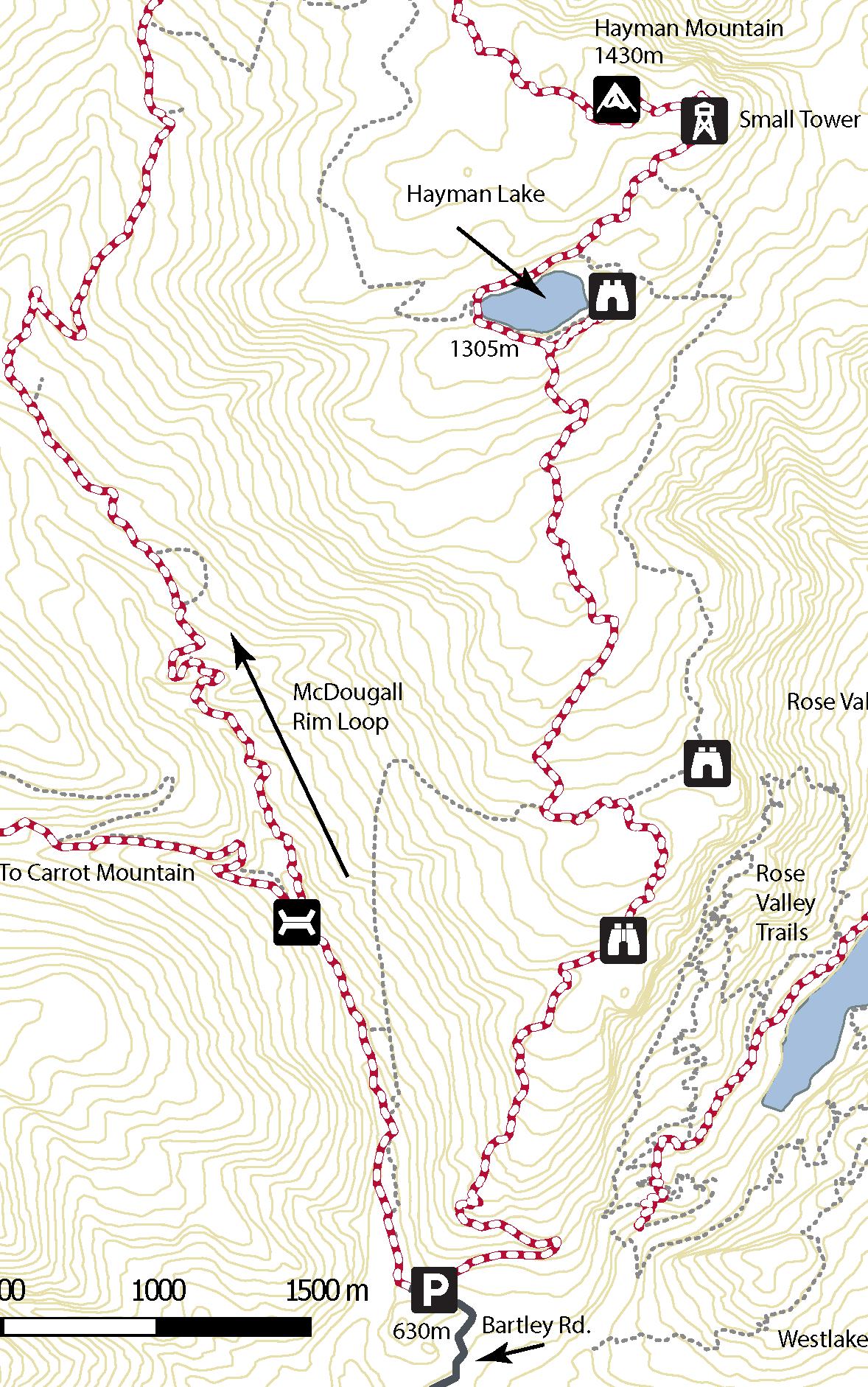 Map of McDougal Rim trail and Hayman Lake/Summit