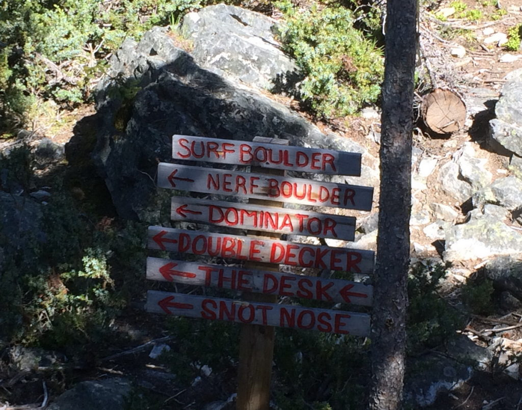 Signs leading to various Bouldering areas.